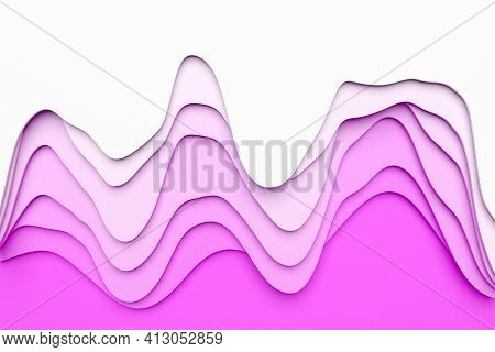 3d Illustration Of Pink And  White Wave, Cave .shape Pattern. Technology Geometry  Background. Color