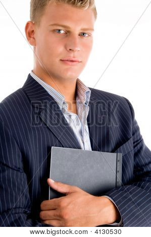 Smiling Male Holding The Document