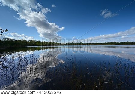 Nine Mile Pond Afternoon Cloudscape And Reflections In Everglades National Park.