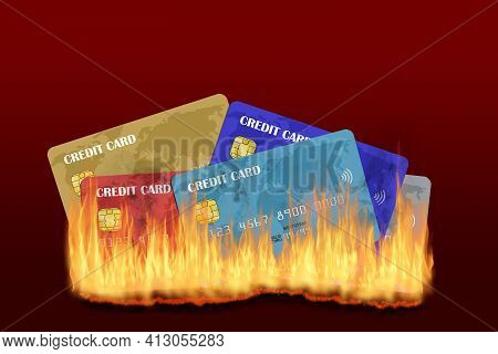 Multiple Credit Cards Burning With Rising Fire And Smoke Isolated On Red Background With Copy Space.