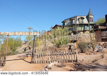 APACHE JUNCTION, ARIZONA - DECEMBER 8, 2016: Boot Hill at the Goldfield Ghost Town, in Apache Junction, Arizona, off of Route 88. Looking up at the Bordello and Church on the Mount.