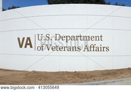 LONG BEACH, CALIFORNIA - 16 MAR 2021: Sign at the Veterans Affairs complex Bellflower Boulevard entrance.