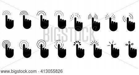 Hand Cursor Set. Hand Click Icon. Click Here Web Button Sign. Vector Mouse Pointer Symbol. Stock Ima