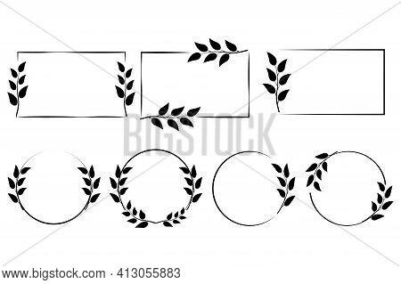 Frames Of Spikelets. Wedding Decoration. Vector Background. Hand Drawn Vector. Design Element. Stock