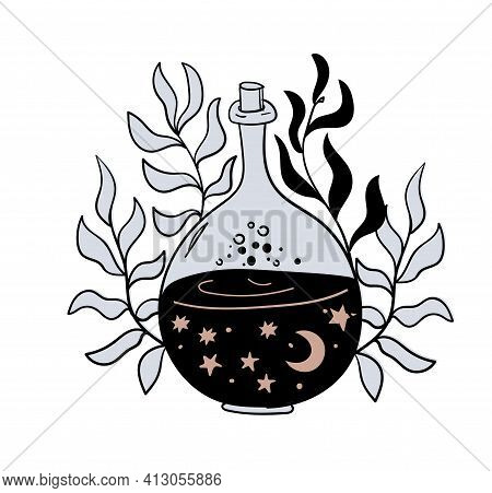A Vase With A Magic Drink, A Bottle Of Love Potion From The Moon And Stars With Flowers And Plants.