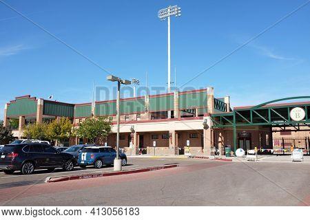 SCOTTSDALE, ARIZONA - DECEMBER 9, 2016: Gate B at Scottsdale Stadium the Spring Training home of the San Francisco Giants of  Major League Baseballs National League.