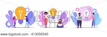 Set Businesspeople Holding Bright Bulb Successful Teamwork Creative Solutions Big Idea Brainstorm Co