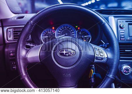 Novosibirsk, Russia - March 16  2021: Subaru Forester, Cockpit Interior Cabin Details, Speedometer A