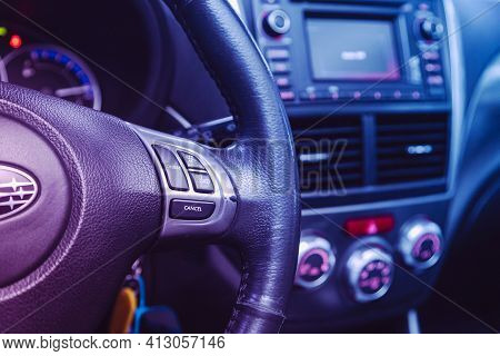 Novosibirsk, Russia - March 16  2021: Subaru Forester,black Steering Wheel With Multifunction Button