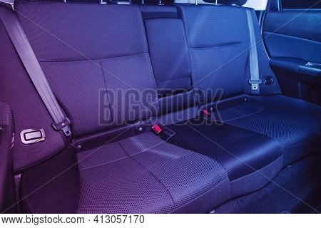 Novosibirsk, Russia - March 16  2021: Subaru Forester, Clean Car Interior: Black Back Seats, Headres