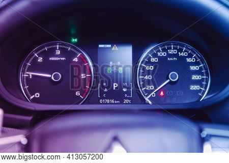 Novosibirsk, Russia - March 16  2021: Mitsubishi Pajero Sport,  Car Panel, Digital Bright Speedomete