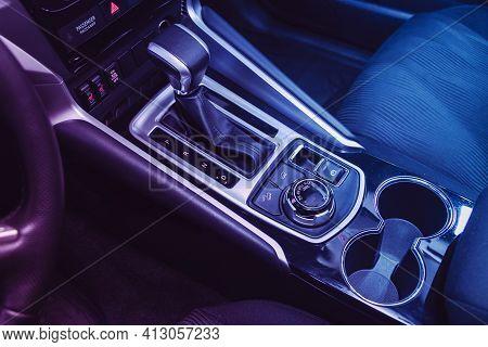 Novosibirsk, Russia - March 16  2021: Mitsubishi Pajero Sport, Close Up Of The Manual Gearbox Transm