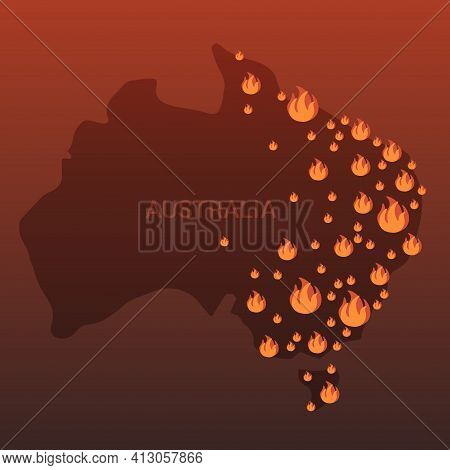 Map Of Australia With Fire Symbols Bushfires Seasonal Wildfires Global Warming Natural Disaster Conc