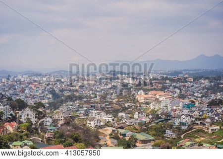 Aerial View Of Dalat City. The City Is Located On The Langbian Plateau In The Southern Parts Of The