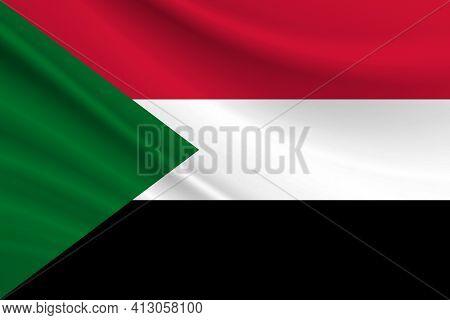 Flag Of Sudan. Fabric Texture Of The Flag Of Sudan.