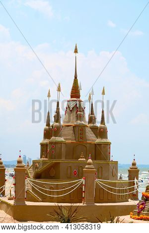 The Royal Sand Pagoda Was Carefully Built, And Beautifully Decorated In Songkran Festival