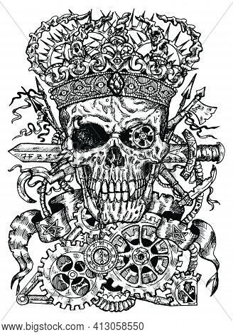Black And White Illustration Of Scary Skull Wearing Crown, With Sword, Banner And Steampunk Wheel An