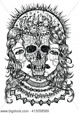 Black And White Illustration With Halves Of Woman Face And Scary Skull Between Them. Mystic Backgrou