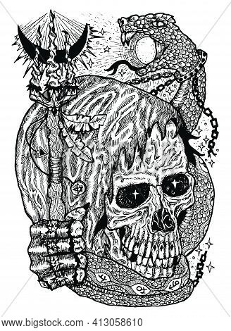Black And White Illustration With Skull Wearing Hood, Holding Magic Wand, With Snake Swallowing Sun.