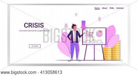 Businesswoman Presenting Economic Arrow Falling Down On Flipchart Financial Crisis Bankruptcy Concep