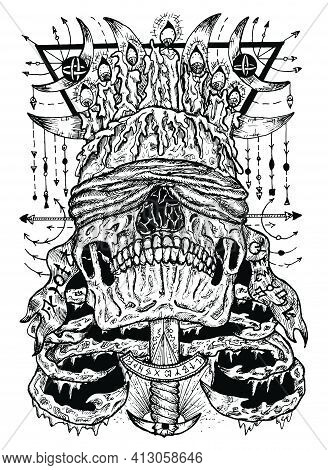 Black And White Illustration With Scary Blind Skull Stabbed With The Sword, Sacred Geometry Patterns