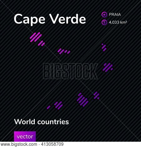 Vector Creative Digital Neon Flat Line Art Abstract Simple Map Of Cape Verde With Violet, Purple, Pi