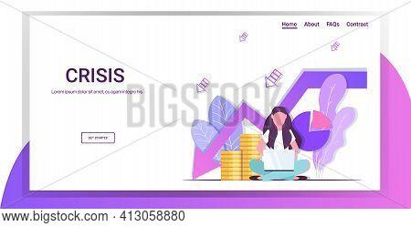 Sad Businesswoman Using Laptop Money Coins Piles Falling Down Arrow Financial Crisis Bankruptcy Conc