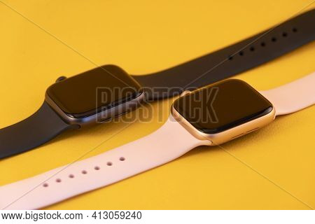 Moscow, Russia March 14, 2021. Apple Watch. Two Pairs Of Apple Brand Electronic Watches. Watch With