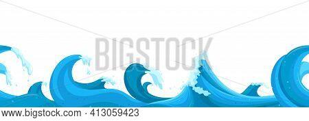 Wavy Seascape Horizontal Seamless Pattern. High Stormy Waves Landscape. Cartoon Vector Illustration