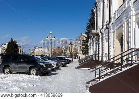 Tomsk, Russia - March 8, 2021. Historical Urban District Of The City Of Tomsk - Governor's Quarter.