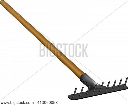 Classic Rake For Work In The Orchard And In The Garden. Vector Illustration.