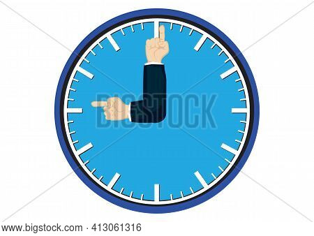 Hands Of Businessman As The Minutes And Hour Hands. Concept Of Limited Offer, Deadline Symbol. Vecto