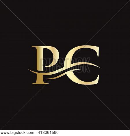 Creative Pc Letter With Luxury Concept. Modern Pc Logo Design For Business And Company Identity.
