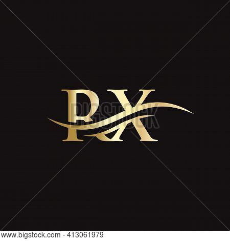 Initial Rx Letter Linked Logo Vector Template. Swoosh Letter Rx Logo Design. Rx Logo Design Vector