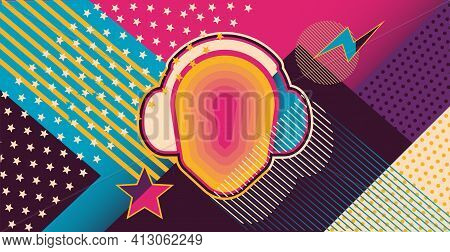 Psychedelic Background, Cover, Poster Template Hippie Style From The 1960S.