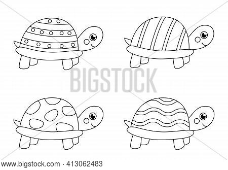 Coloring Page With Cute Turtles. Set Of Black And White Tortoises.