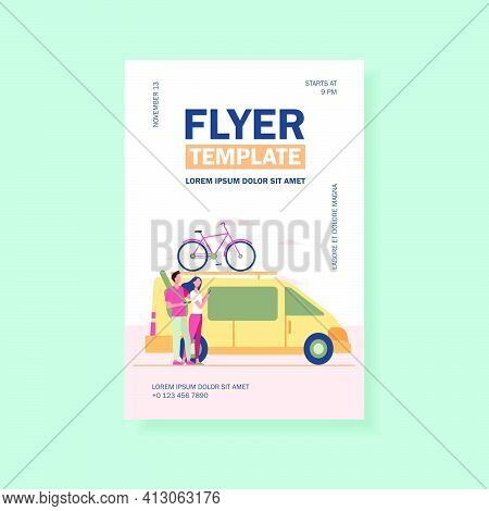 Group Of Active Tourists Gathering At Vehicle. Minivan With Bike On Top Moving Flat Vector Illustrat