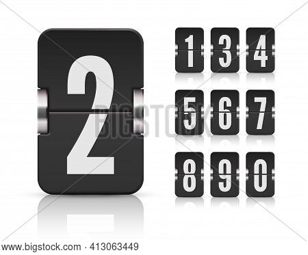 Numeric Flip Scoreboard Set With Reflection For Black Countdown Timer Or Web Page Watch Or Calendar.