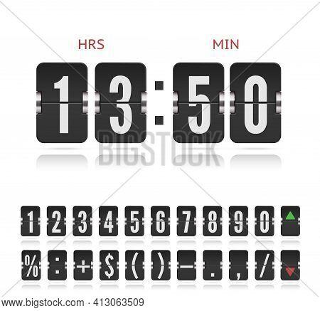 Vector Vintage Flip Clock Time Counter. Scoreboard Number Symbol Font. Analog Stock Exchange Board C