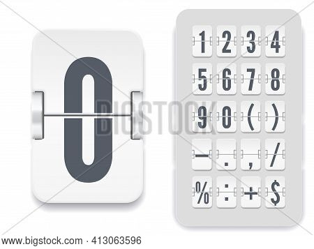 White Analog Countdown Number Font. Flip Number And Symbol Scoreboard With Shadows. Vector Illustrat