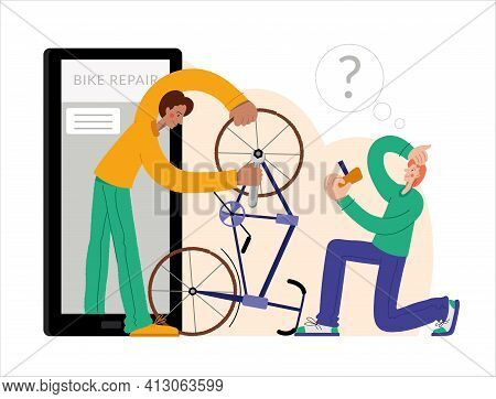 Bicycle Repair. A Man Repairing A Bicycle Through An Online Repair. Web Graphics, Banners, Advertise