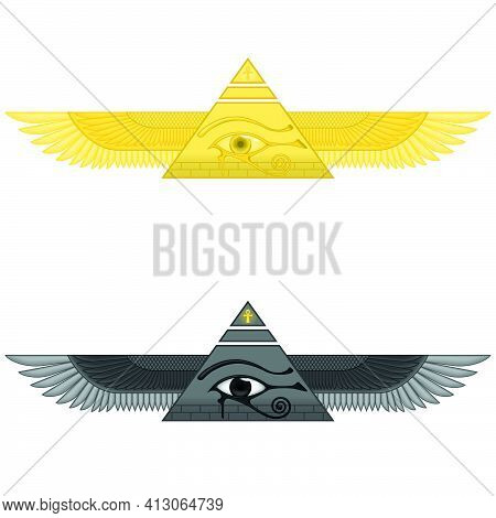Illustration Of Winged Pyramid With Eye Of Horus, Ancient Egyptian Pyramid With Wings, Winged Pyrami