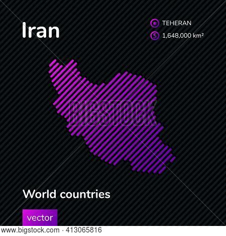 Vector Creative Digital Neon Flat Line Art Abstract Simple Map Of Iran With Violet, Purple, Pink Str