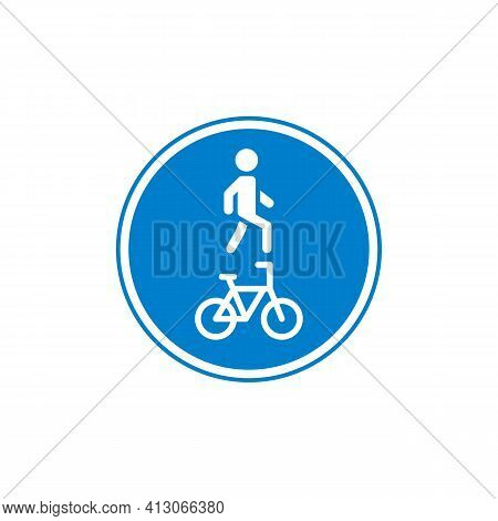 Pedestrian And Bicyclist Traffic Sign Flat Icon, Vector Sign, Colorful Pictogram Isolated On White.