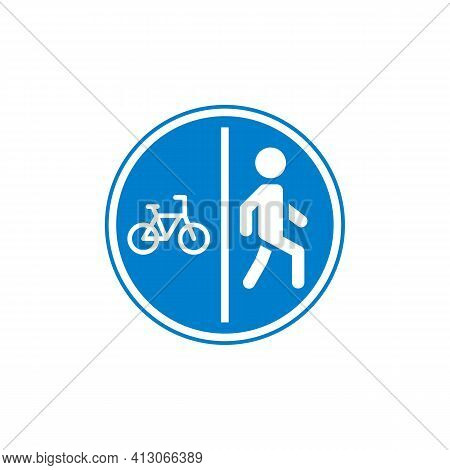 Bicyclist And Pedestrian Traffic Sign Flat Icon, Vector Sign, Colorful Pictogram Isolated On White.