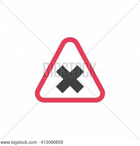 Priority Road Sign Flat Icon, Warning Crossroad Traffic Vector Sign, Colorful Pictogram Isolated On