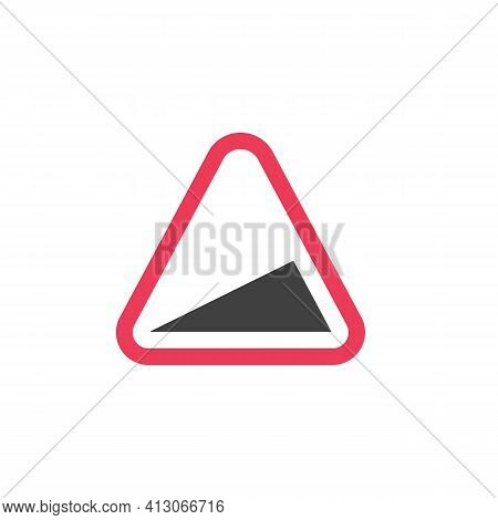 Steep Ascent Warning Traffic Sign Flat Icon, Vector Sign, Colorful Pictogram Isolated On White. Symb