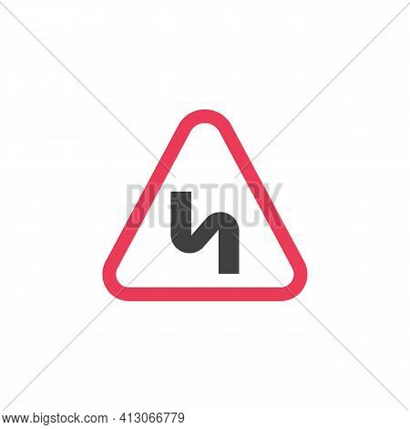 Double Bend Warning Road Sign Flat Icon, Vector Sign, Colorful Pictogram Isolated On White. Symbol,
