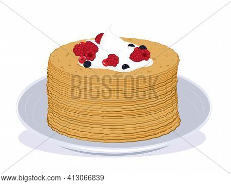 Illustration Of A Stack Of Pancakes Covered With Sour Cream And Berries