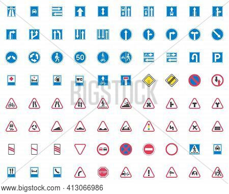 Traffic Signs Collection, Road Signs Flat Icons Set, Colorful Symbols Pack Contains - Pedestrian Cro